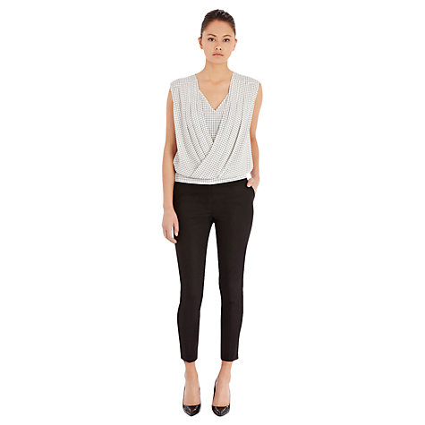 Buy Warehouse Compact Cotton Trousers, Black Online at johnlewis.com