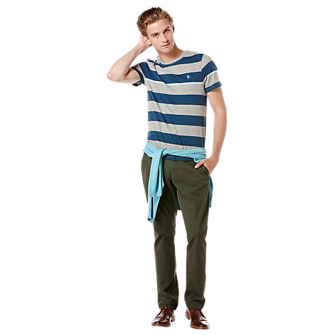 Buy Original Penguin Engineered Stripe T-Shirt, Grey/Blue Online at johnlewis.com