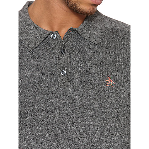 Buy Original Penguin Knitted Polo Shirt, Dark Grey Online at johnlewis.com
