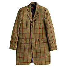 Buy Joules Duke Tweed Check Overcoat, Dark Olive Online at johnlewis.com