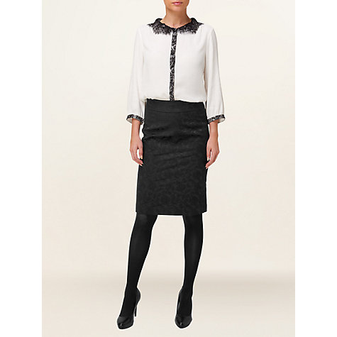 Buy Phase Eight Emily Jacquard Skirt, Black Online at johnlewis.com
