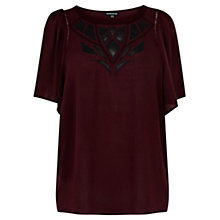 Buy Warehouse Applique Top, Dark Red Online at johnlewis.com