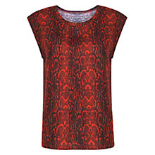 Buy Mango Snake Print T-Shirt, Bright Red Online at johnlewis.com