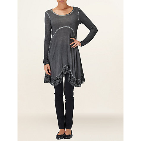 Buy Phase Eight Lace Frill Hem Top, Grey Online at johnlewis.com