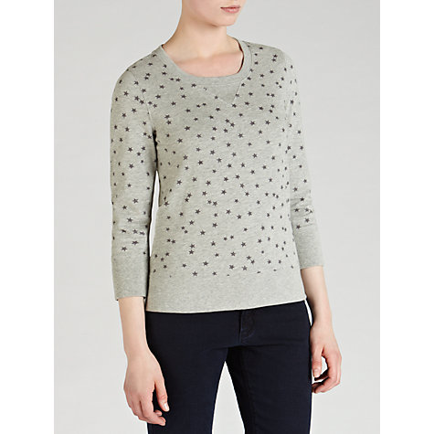 Buy Collection WEEKEND by John Lewis Star Print Slub Sweatshirt, Light Grey Marl Online at johnlewis.com