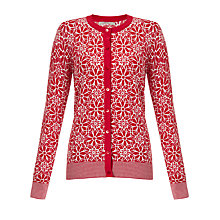 Buy John Lewis Capsule Collection Floral Graphic Cardigan, Red/Ivory Online at johnlewis.com