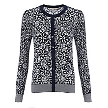 Buy John Lewis Capsule Collection Floral Graphic Cardigan, Ivory/Navy Online at johnlewis.com