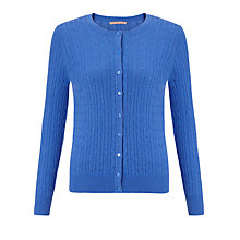 Buy John Lewis Crew Neck Cable Knitted Cardigan, Regatta Blue Online at johnlewis.com