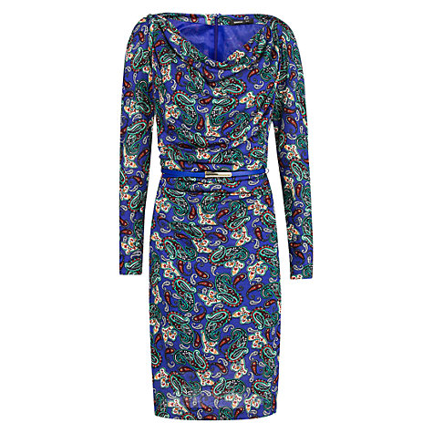 Buy Mango Belted Drape Dress, Bright Blue Online at johnlewis.com