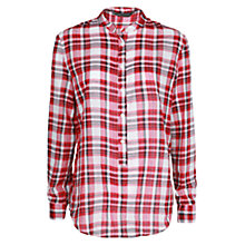 Buy Mango Check Cotton Shirt, Bright Red Online at johnlewis.com