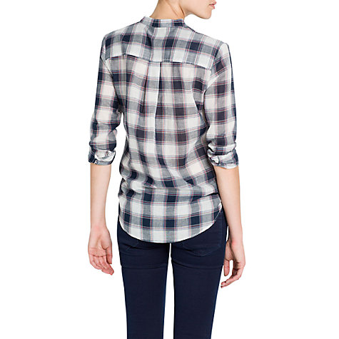 Buy Mango Checked Cotton Shirt, Navy Online at johnlewis.com