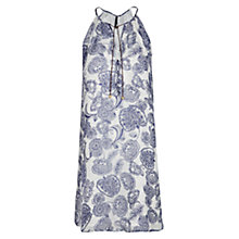 Buy Mango Silk Print Dress, Medium Blue Online at johnlewis.com