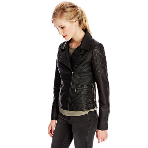 Buy Oasis Sienna Faux Leather Jacket, Black Online at johnlewis.com