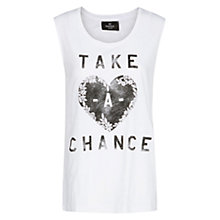 Buy Mango Typographic Print Vest Top, White Online at johnlewis.com
