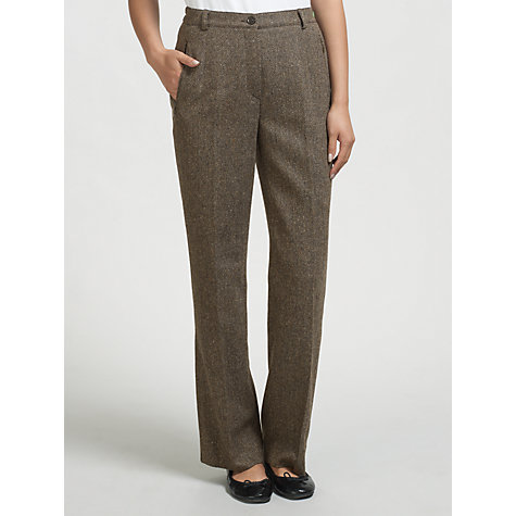 Buy Gardeur Karen Herringbone Straight Leg Trousers, Chocolate Online at johnlewis.com