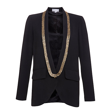 Buy Hoss Intropia Bead Trim Blazer, Black Online at johnlewis.com