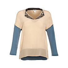 Buy Hoss Intropia Sequin Collar Block Blouse, Steel Online at johnlewis.com
