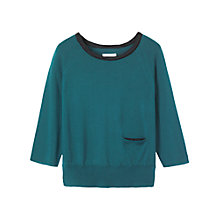 Buy Toast Silk Trim Merino Wool Pullover, Teal Online at johnlewis.com