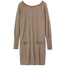 Buy Toast Silk Trim Merino Wool Jumper Dress, Brown Online at johnlewis.com