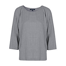 Buy French Connection Mel 3/4 Sleeve Top, Light Grey Melange Online at johnlewis.com
