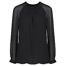 Buy French Connection Sway Crochet Long Sleeve Top, Black Online at johnlewis.com