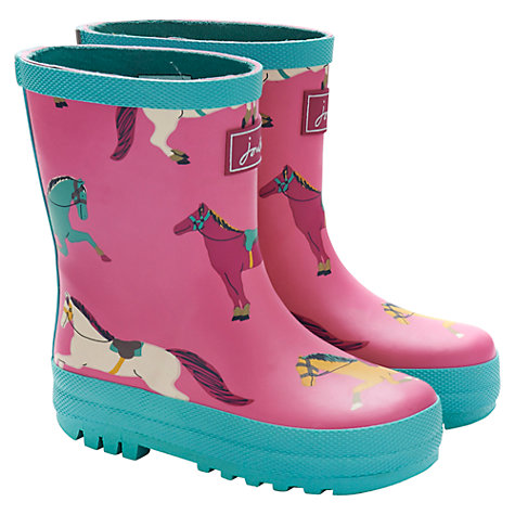 Buy Baby Joule Horse Wellington Boots, Pink/Green Online at johnlewis.com