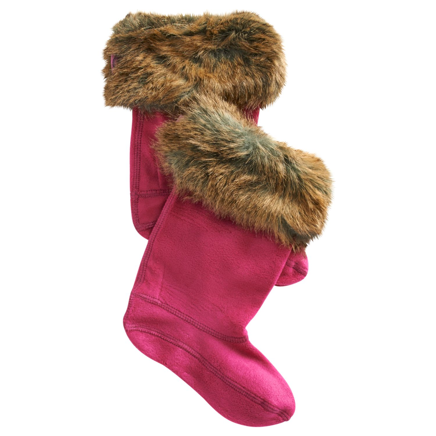 Little Joule Rebel Faux Fur Welly Socks, Ruby