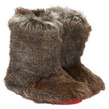 Buy Little Joule Faux Fur Slippers, Brown Online at johnlewis.com
