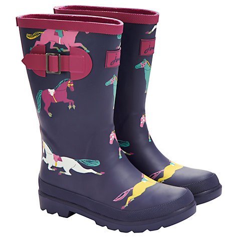 Buy Little Joule Pony Wellington Boots, Navy Online at johnlewis.com