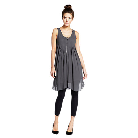 Buy Mint Velvet Swing Pintuck Dress, Grey Online at johnlewis.com