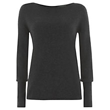 Buy Mint Velvet Button & Silk Back Tunic Top, Grey Charcoal Online at johnlewis.com