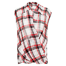 Buy Mango Wrap Over Checked Top, Natural White Online at johnlewis.com