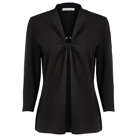 Buy Windsmoor Ring Detail ¾ Sleeve Jersey Top, Black Online at johnlewis.com