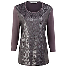Buy Windsmoor Sequin Front Scoop Neck Jersey Top, Purple Online at johnlewis.com