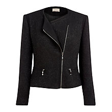 Buy Planet Tweed Biker Jacket, Black Online at johnlewis.com