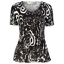 Buy Windsmoor Mono Print Crinkle Top, Black Online at johnlewis.com