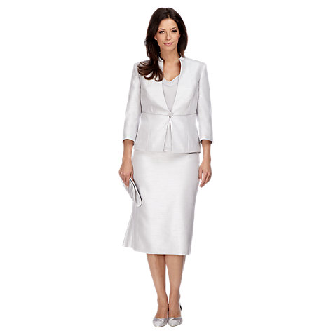 Buy Jacques Vert Shimmer Shantung Jacket, Steel Online at johnlewis.com