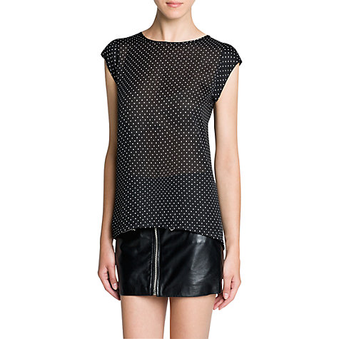 Buy Mango Polka-Dot Print T-Shirt, Black Online at johnlewis.com