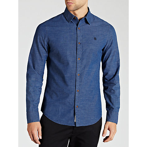 Buy Original Penguin Chambray Cotton Shirt, Blue Online at johnlewis.com