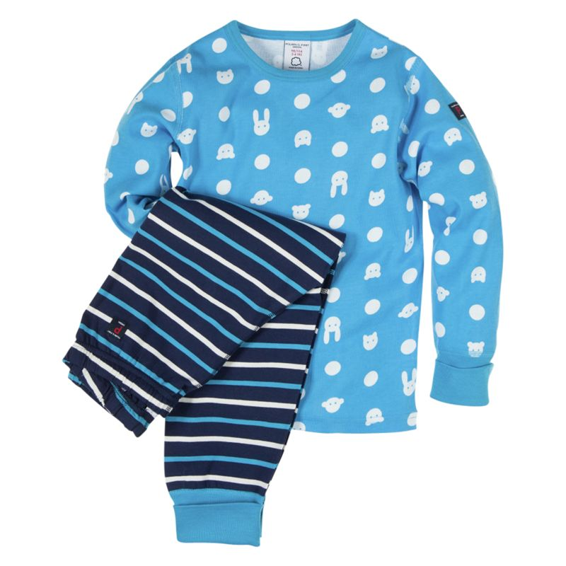 Polarn O.Pyret Bunny/Stripe Pyjama Set, Turquoise