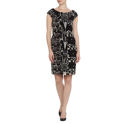 Buy Adrianna Papell Side Pleat Sheath Dress, Black Online at johnlewis.com
