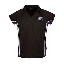 Buy Alderbrook Senior School Girls' Polo Shirt, Black/Purple Online at johnlewis.com