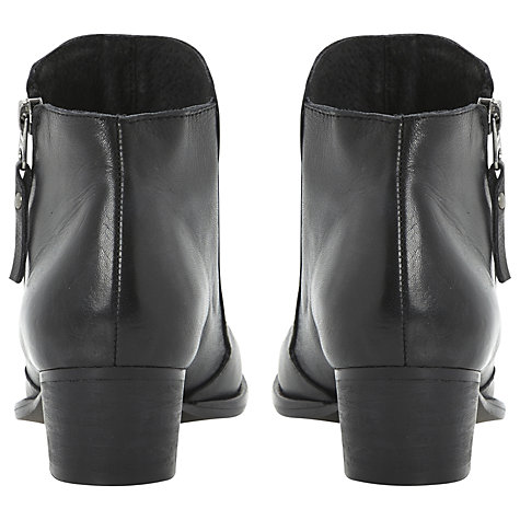 Buy Dune Pash Leather Slanted Zip Block Heel Ankle Boots Online at johnlewis.com