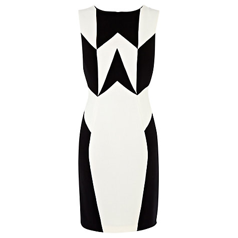 Buy Warehouse Blocked Panel Shift Dress, Black/White Online at johnlewis.com