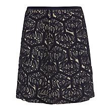 Buy Jigsaw Geometric Floral Beaded Silk Skirt, Black Online at johnlewis.com