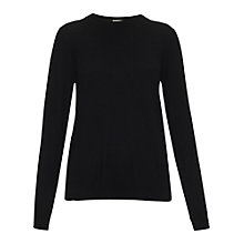 Buy Whistles Amelia Silk Mix Crew Neck Top, Black Online at johnlewis.com