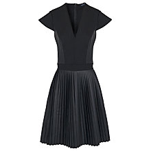 Buy French Connection Solar Pleated Dress, Black Online at johnlewis.com