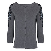 Buy French Connection Embroidered Beads Cardigan, Grey Melange Online at johnlewis.com