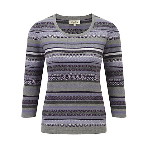Buy Viyella 3/4 Sleeve Fairisle Jumper, Lavender Online at johnlewis.com
