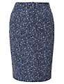 Viyella Petite Printed Pencil Skirt, French Navy